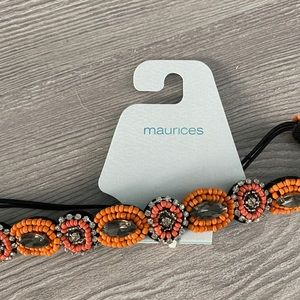 NWT Maurice's orange beaded head band